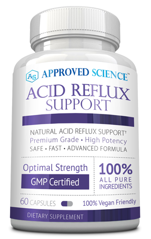 A bottle of approved science acid reflux report
